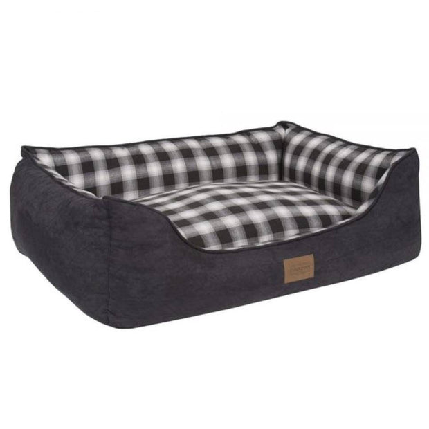 Pendleton Charcoal Ombre Kuddler Bolster Dog Bed with Removable Cover