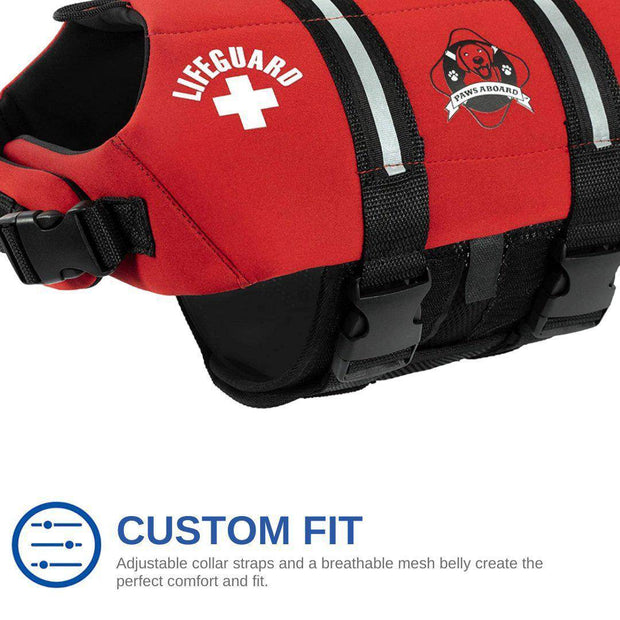 Dog Life Jacket - Paws Aboard Red Neoprene Pet Life Vest