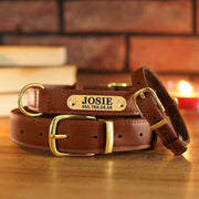 Personalized Genuine Brown Leather Collar-collar-Baxter & Bella
