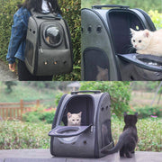 Large Cat Carrier Leather Backpack-pet carrier-Baxter & Bella