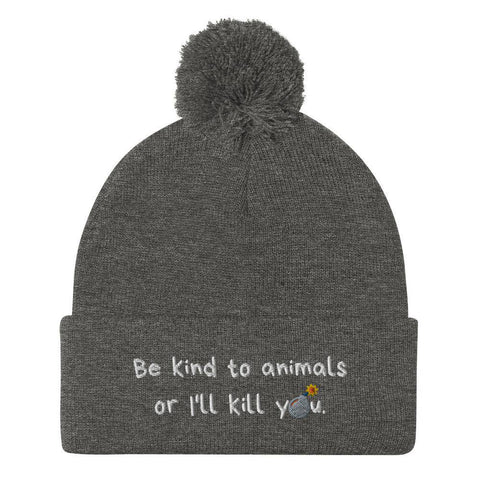 Be Kind Pom-Pom Embroidered Beanie-Baxter & Bella