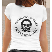 Be Kind to Animals or I'll Kill You Unisex Soft Tee-T-shirt-Baxter & Bella