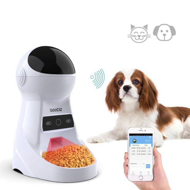 Automatic Pet Feeder With Voice Record and Camera-auto pet feeder-Baxter's Petshop