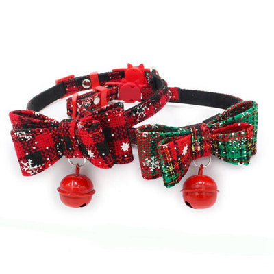 Christmas Bowtie Cat Collar With Bell-cat collar-Baxter & Bella
