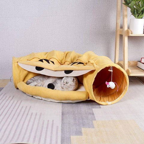 Collapsible Cat Tunnel Toy Bed-cat toy-Baxter & Bella