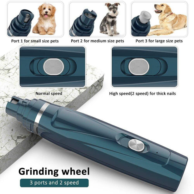 GentlePaws™ Quiet Nail Grinder and Hair Trimmer for Dogs 2 in 1 Complete Set-nail grinder-Baxter & Bella