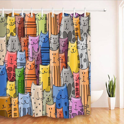 Colorful Cat Printed Shower Curtain-shower curtain-Baxter & Bella