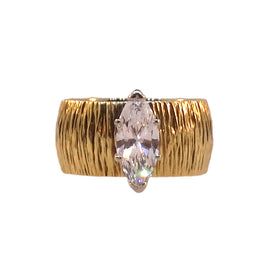 14KT Y/G Marquise Diamond Solitaire Ring