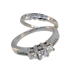 14KT W/G Princess Cut Diamond Wedding Set