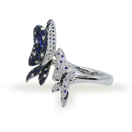 Diamond and Sapphire Butterfly Ring