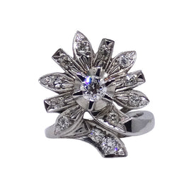 14KT W/G Starburst Diamond Ring