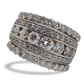 Tri-band Round Brilliant Diamond Ring