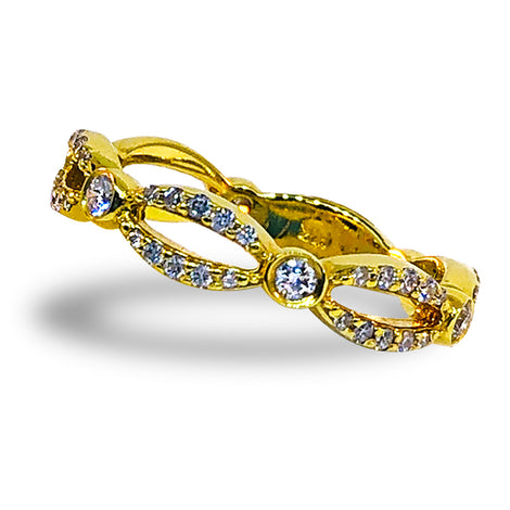 14KT Y/G Diamond Infinity Ring