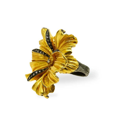 Kurtulan Gold and Diamond Floral Ring