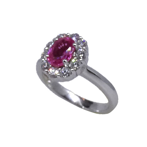 18KT W/G Pink Sapphire & Diamond Cluster Ring