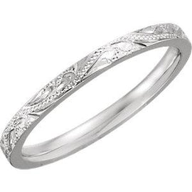 Platinum Design-Engraved Band Size 7