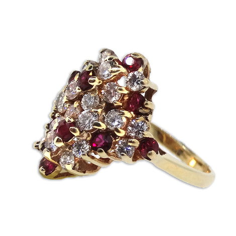 14KT YG Diamond and Ruby Ring