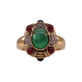 14KT Y/G Cabochon Emerald, Sapphire, & Ruby Ring