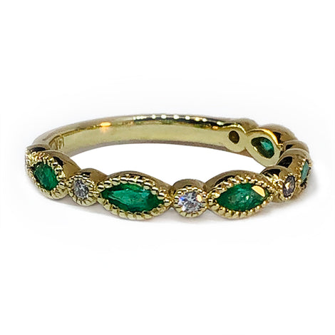 14KT Y/G Marq Emerald and Diamond Ring