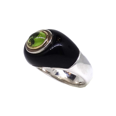 S/S & 18KT Peridot and Onyx Ring