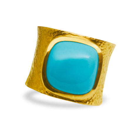Turquoise Hammered Gold Ring