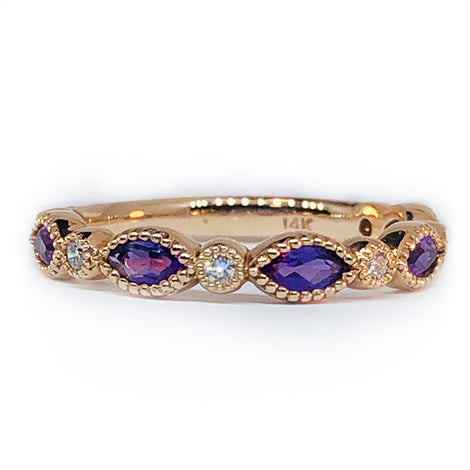14KT R/G Marq Amethyst and Diamond Ring