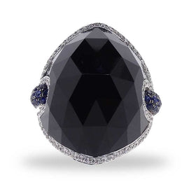 Black Dome Jet Ring with Diamonds and Sapphires