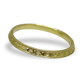 Engraved Gold Angle Band by Jolie
