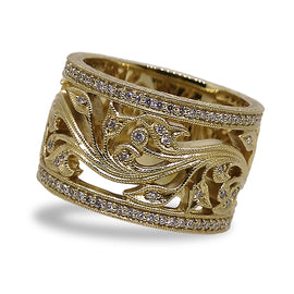 Gold Floral and Diamond Wide Band by Jolie