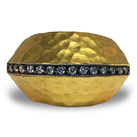 Kurtulan Hammered dome gold diamond ring