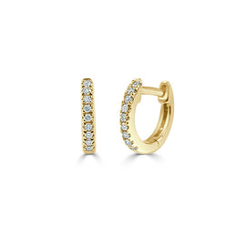 14k Yellow Gold & Diamond Huggie Earrings