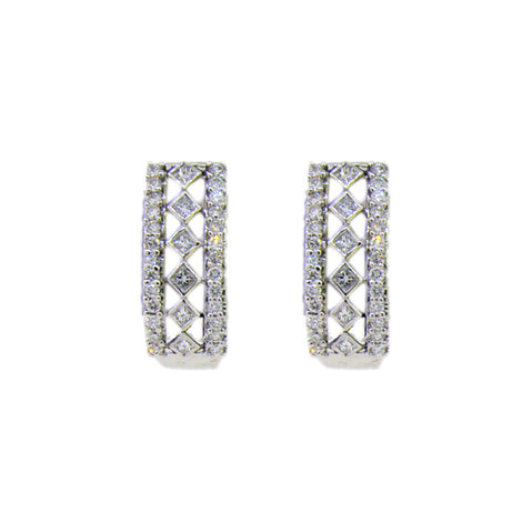 14KT W/G Diamond J-Hoop Earrings