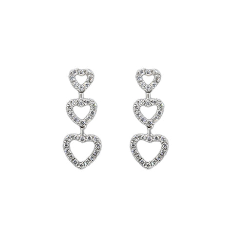 14KT White Gold 3-Heart Diamond Earrings