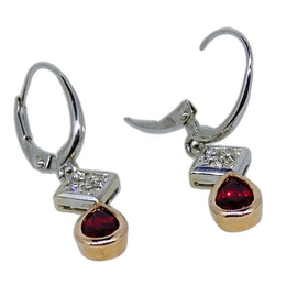 Gold Diamond and Ruby Dangle Earrings