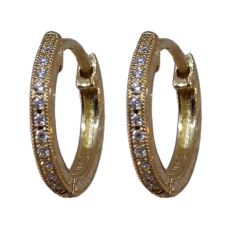 Yellow Gold and Diamond Small Hoop Earring by Jolie
