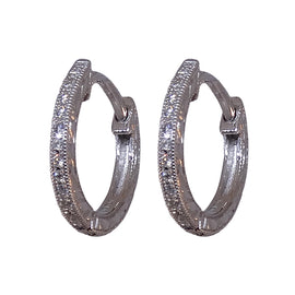 White Gold and Diamond Small Hoop Earring by Jolie