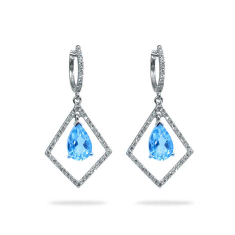 Diamond Triangle Aquamarine Dangle Earrings