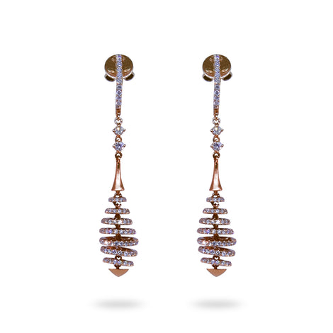 Dangling Diamond Swirl Earrings