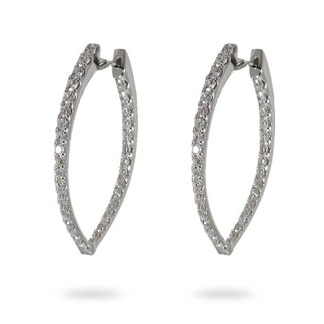 White Gold Diamond Tear Drop Hoop Earrings