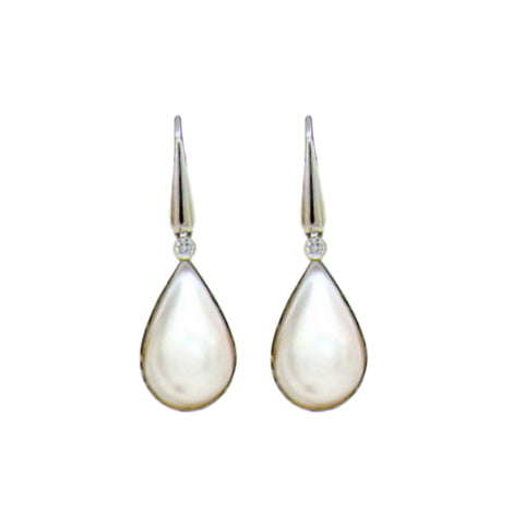 14KT W/G Pear Shape Mabe Pearl Earrings