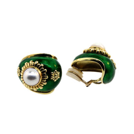 18KT Y/G Green Enamel W/ Mabe Pearl Earrings