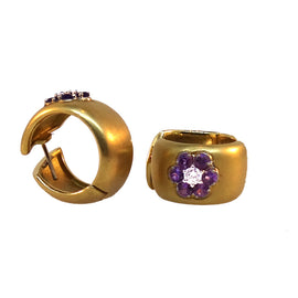 18KT Y/G Flower Amethyst Earrings