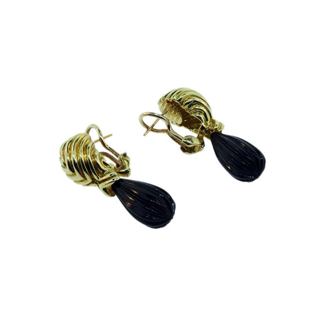 18KT Y/G Carved Onyx Drop Earrings