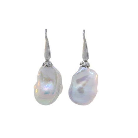 14KT W/G Baroque Pearl Drop Earrings