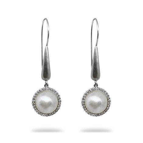 Mabe and Diamond Earrings
