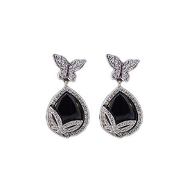 18KT W/G Diamond Butterfly with Black Onyx Earrings