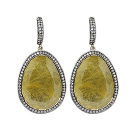 18KT Y/G Rutilated Quartz Earrings