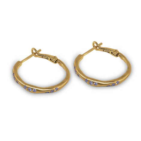 Yellow Gold Brushed Hoops