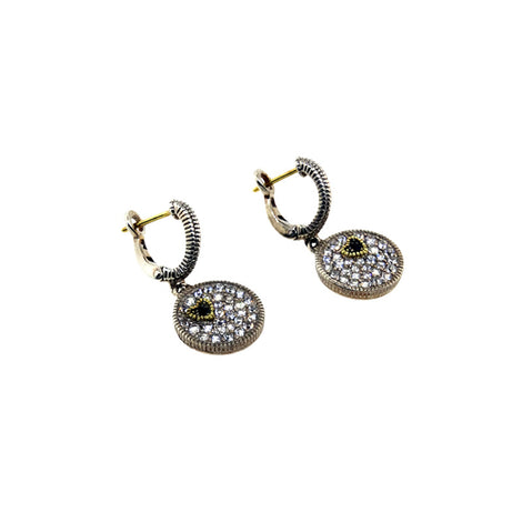 S/S White Sapphire Disc Earrings