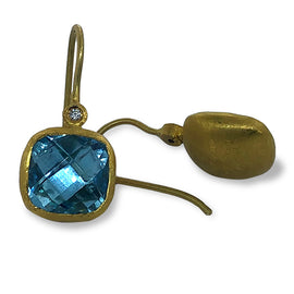 Kurtulan Cusion Blue Topaz Earrings